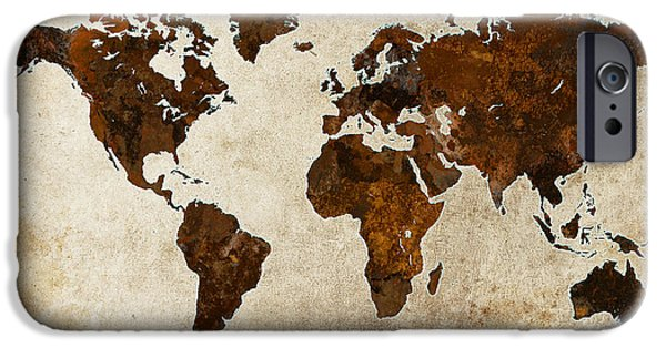 Earth Map Digital iPhone Cases - Grunge World Map iPhone Case by Gary Grayson
