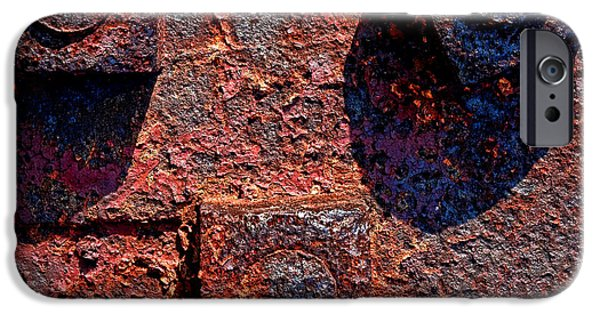 Rust Photographs iPhone Cases - Grunging Away iPhone Case by Olivier Le Queinec
