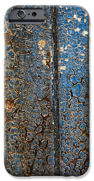 Grungy Pyrography iPhone Cases - Grungy Cracked paint abstract iPhone Case by Ilze Lucero