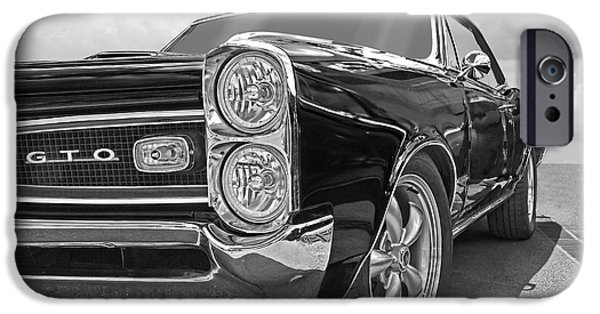 Old Cars iPhone Cases - GTO Black and White iPhone Case by Gill Billington