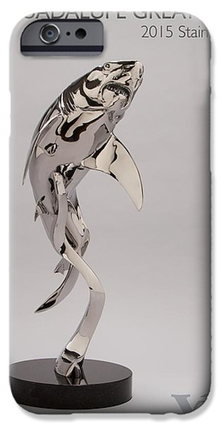 Sharks Sculptures iPhone Cases - Guadalupe Great White iPhone Case by Victor Douieb