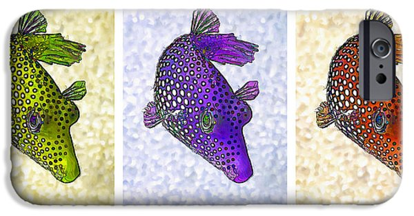 Meleagris iPhone Cases - Guinea Fowl Puffer Fish Triptych iPhone Case by Bill Caldwell -        ABeautifulSky Photography