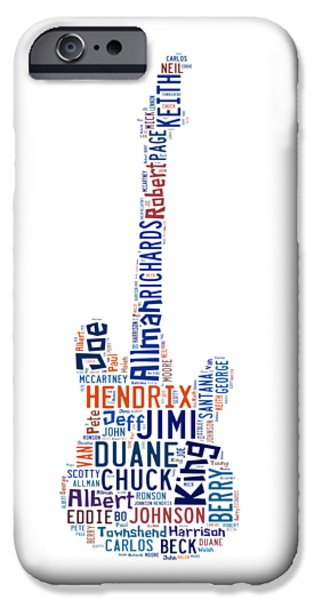 John Lennon Drawings iPhone Cases - Guitar Legends iPhone Case by Bill Cannon