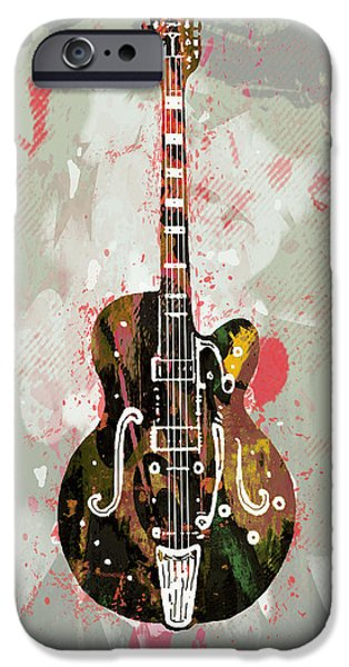 Electrical iPhone Cases - Guitar stylised pop art poster iPhone Case by Kim Wang