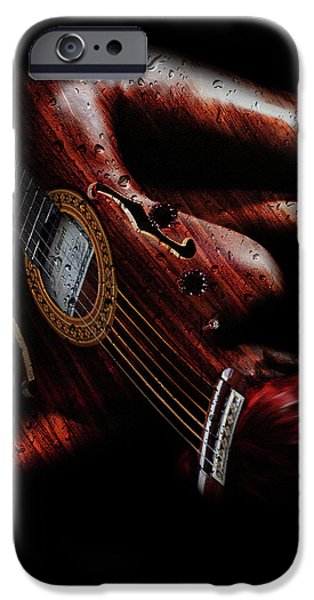 Raining Mixed Media iPhone Cases - Guitar Woman iPhone Case by Marian Voicu