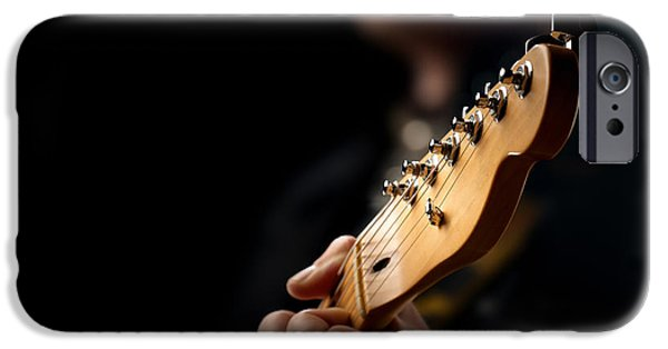 Playing Photographs iPhone Cases - Guitarist Close-up iPhone Case by Johan Swanepoel