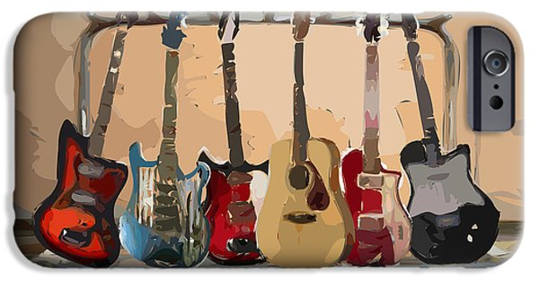 Musical iPhone Cases - Guitars On A Rack iPhone Case by Arline Wagner