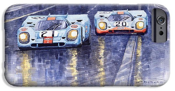 Cars iPhone Cases - Gulf-Porsche 917 K Spa Francorchamps 1970 iPhone Case by Yuriy  Shevchuk