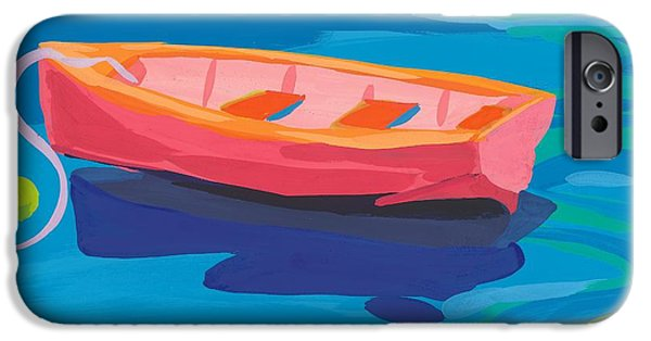 Vivid Colour Paintings iPhone Cases - Gull and Boat iPhone Case by Sarah Gillard