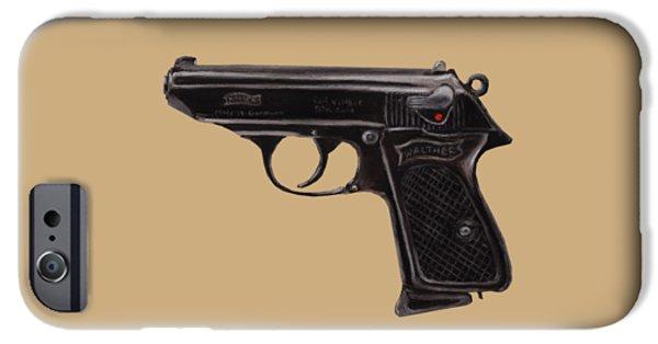 Police Pastels iPhone Cases - Gun - Pistol - Walther PPK iPhone Case by Anastasiya Malakhova