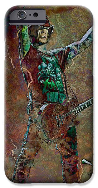 Celebrities Photographs iPhone Cases - Guns N Roses lead guitarist Dj Ashba iPhone Case by Loriental Photography