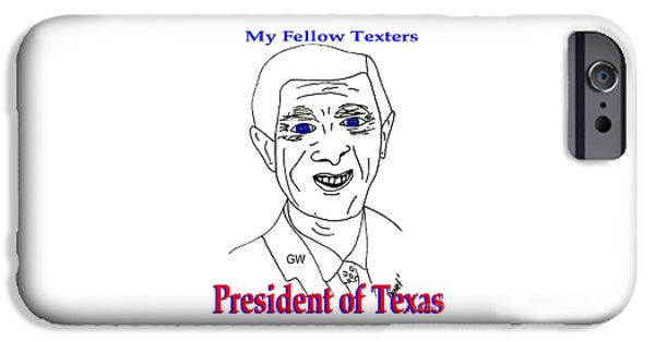 George Bush iPhone Cases - GW on Texting iPhone Case by James and Donna Daugherty