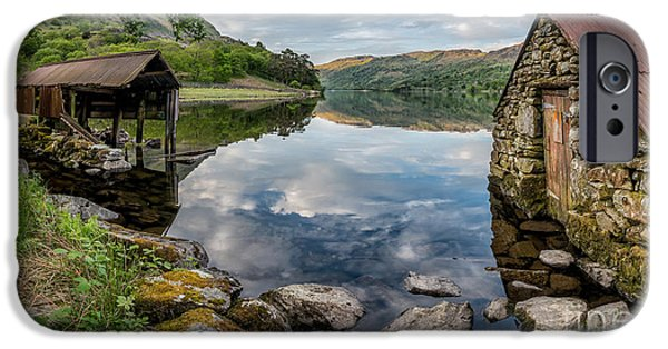 Boat House iPhone Cases - Gwynant Lake Boat House iPhone Case by Adrian Evans