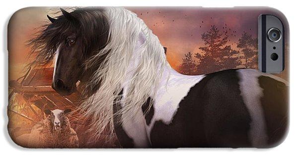 Gypsy Digital Art iPhone Cases - Gypsy on the Farm iPhone Case by Shanina Conway