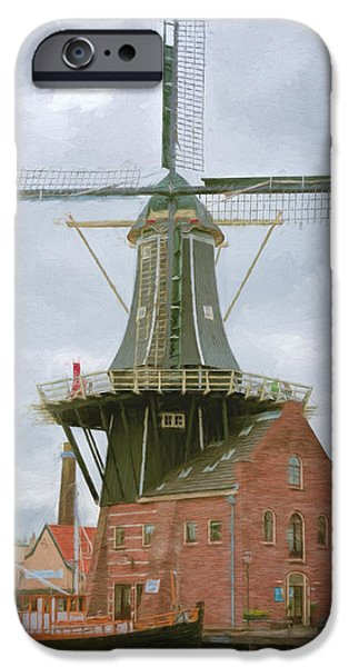 Sailboats iPhone Cases - Haarlem Windmill iPhone Case by Joan Carroll