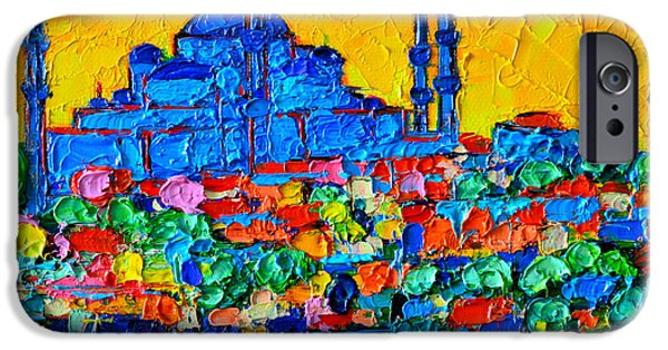 Blue Abstracts iPhone Cases - Hagia Sophia At Sunset Istanbul Abstract Cityscape Palette Knife Oil Painting By Ana Maria Edulescu iPhone Case by Ana Maria Edulescu