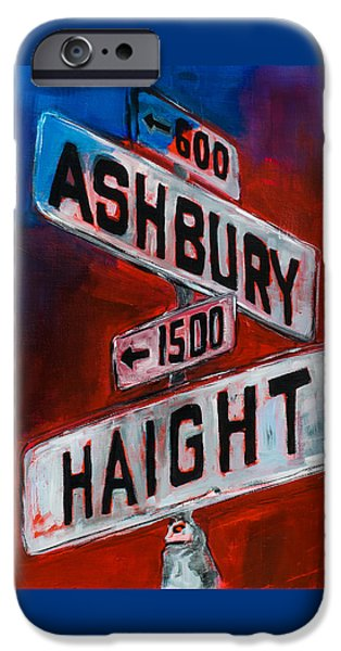 San Francisco Street iPhone Cases - Haight and Ashbury iPhone Case by Elise Palmigiani