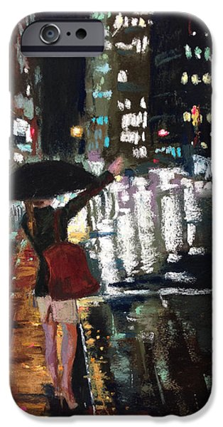 Umbrella Pastels iPhone Cases - Hailing iPhone Case by Michelle Wells Grant