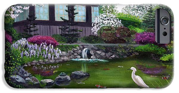 Snowy Egret iPhone Cases - Hakone Gardens Pond in the Spring iPhone Case by Laura Iverson