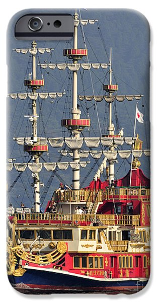 Pirate Ship iPhone Cases - Hakone Sightseeing Cruise ship sailing on Lake Ashi Hakone Japan iPhone Case by Andy Smy