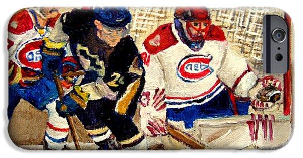 Stanley Cup Paintings iPhone Cases - Halak Catches The Puck Stanley Cup Playoffs 2010 iPhone Case by Carole Spandau