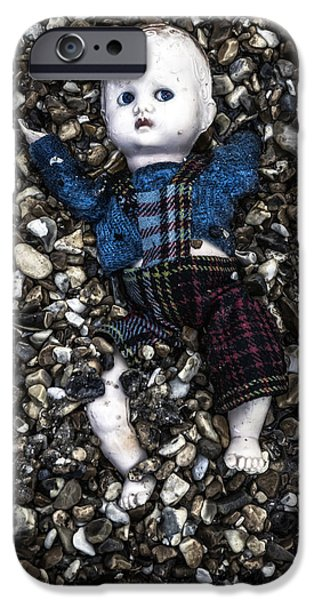 Doll iPhone Cases - Half Buried Doll iPhone Case by Joana Kruse