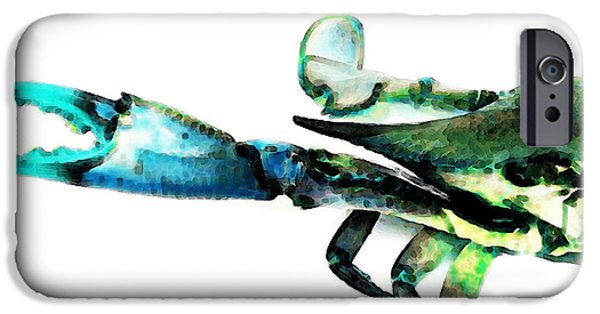 Sea Mixed Media iPhone Cases - Half Crab - The Left Side iPhone Case by Sharon Cummings