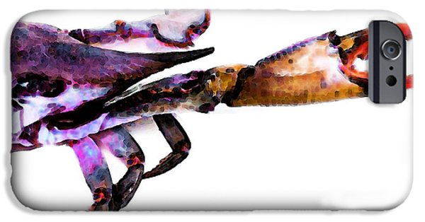 Sea Mixed Media iPhone Cases - Half Crab - The Right Side iPhone Case by Sharon Cummings