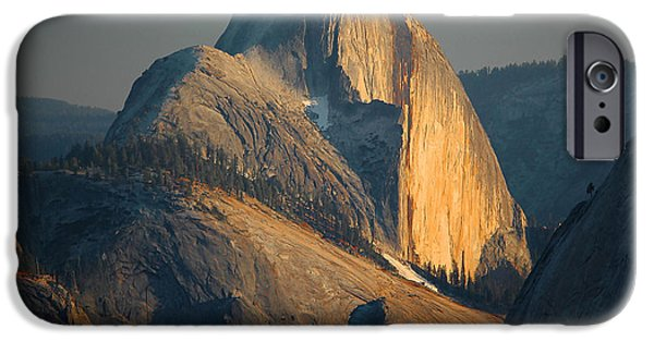 Landscape Photography iPhone Cases - Half Dome At Sunset - Yosemite iPhone Case by Stephen  Vecchiotti