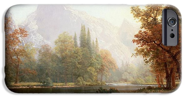 Reflection Paintings iPhone Cases - Half Dome Yosemite iPhone Case by Albert Bierstadt