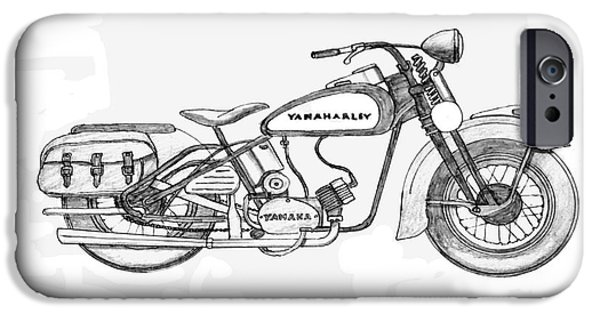 Owner Drawings iPhone Cases - Half hearted Harley iPhone Case by Stephen Brooks