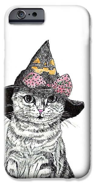 Kobe Drawings iPhone Cases - Halloween Cat iPhone Case by Takahiro Yamada