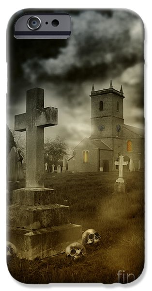 Headstones iPhone Cases - Halloween Churchyard iPhone Case by Amanda And Christopher Elwell