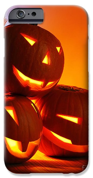 Recently Sold -  - Night Lamp iPhone Cases - Halloween glowing pumpkins iPhone Case by Anna Omelchenko