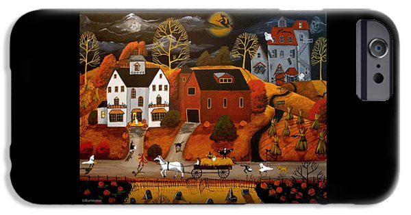 Haunted House iPhone Cases - Halloween Hay Ride - a folkartmama - folk art iPhone Case by Debbie Criswell