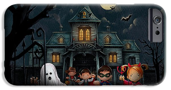 Haunted House iPhone Cases - Halloween Kids Night iPhone Case by Bedros Awak