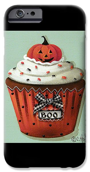 Halloween Pumpkin Cupcake iPhone Case by Catherine Holman