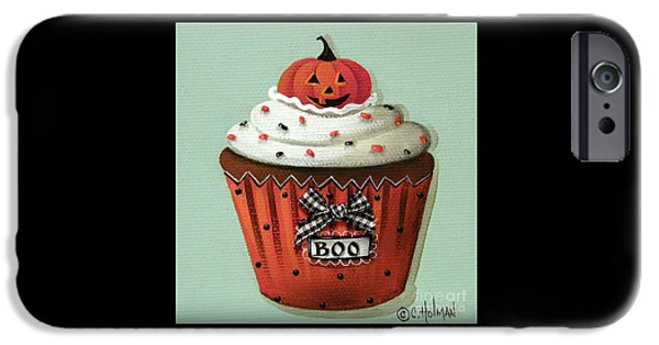 Catherine iPhone Cases - Halloween Pumpkin Cupcake iPhone Case by Catherine Holman