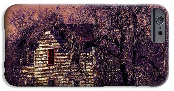 Haunted House iPhone Cases - Halloween0001 iPhone Case by Joseph Yvon Cote