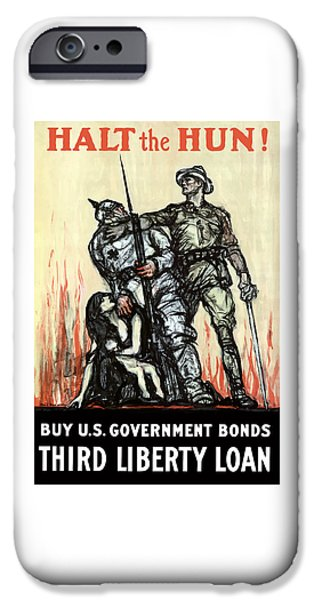 Wwi iPhone Cases - Halt The Hun - WW1 iPhone Case by War Is Hell Store