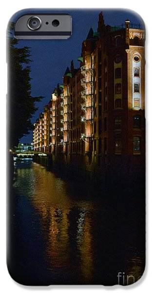 Hamburg Digital iPhone Cases - Hamburg Hafen City #2 iPhone Case by Colin Hunt