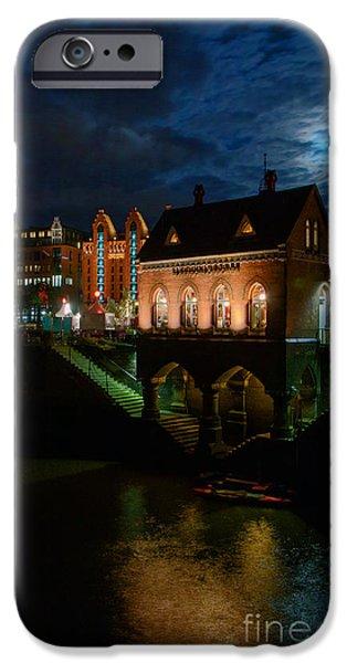 Hamburg Digital iPhone Cases - Hamburg Hafen City iPhone Case by Colin Hunt