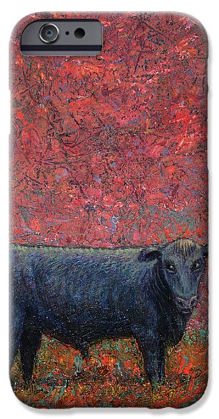 Steer Paintings iPhone Cases - Hamburger Sky iPhone Case by James W Johnson