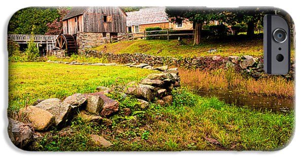 Old Mill Scenes iPhone Cases - Hammond Gristmill Rhode Island - Colored Version iPhone Case by Lourry Legarde