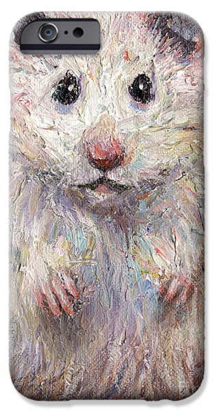 Animal Drawings iPhone Cases - Hamster Painting  iPhone Case by Svetlana Novikova