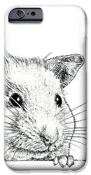 Kobe Drawings iPhone Cases - Hamster  iPhone Case by Takahiro Yamada