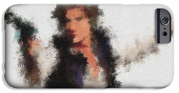 Character Portraits Digital Art iPhone Cases - Han Solo iPhone Case by Miranda Sether