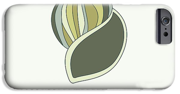 Shell Spiral iPhone Cases - Hand drawn shell in green iPhone Case by Jane Rix
