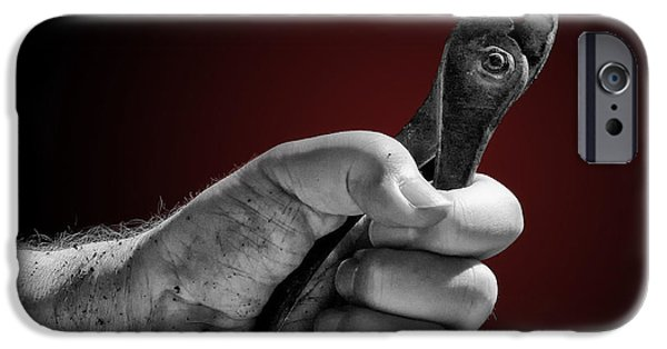 Work Tool iPhone Cases - Hand Holding Pliers iPhone Case by John Hoesly