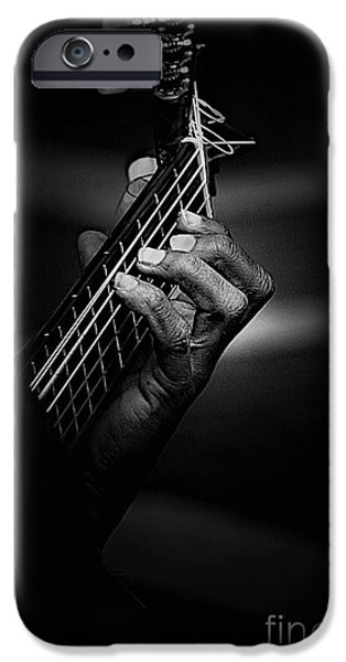 Guitar iPhone Cases - Hand of a guitarist in monochrome iPhone Case by Sheila Smart